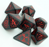 Black & Red Elven Dice Set
